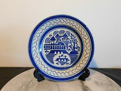 Antique French Faience Blue and White Pottery Plate in Chinese Style