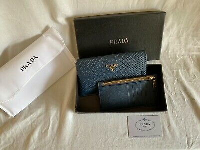 Prada Blue Leather Purse With Gold Logo 100% Leather