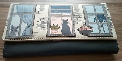 New with Tags Yoshi Purr-fect Cat Flap Grey/Charcoal Leather Purse