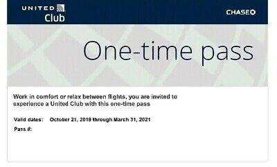 Two (2) United Airlines Club Lounge One-Time Passes Expire March 31, 2021