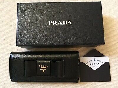 Prada Black Saffiano Vernice Leather Wallet Bow Gold Hardware - New - Rrp £595