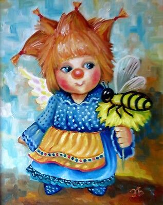 """""""Angel with the bee""""16X20"""" Hand Painted Original Oil Painting Children Kid Gift"""