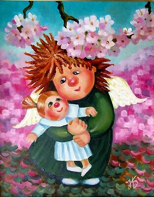 """ANGEL WITH DOLL 16X20"""" Hand Painted Original Portrait Oil Painting Children-Art"""