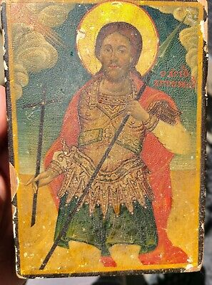 Antique Russian Icon St. John the Warrior Old Wood Panel 19th 18th c Saint Relic
