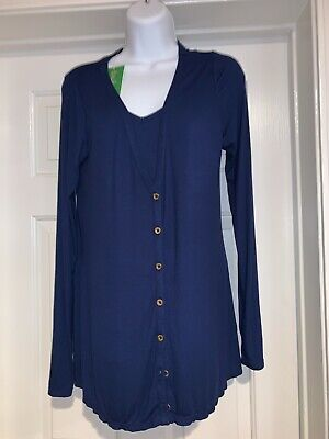 NWT Women's LILLY PULITZER Lorne Set L/S Cardigan & Cami High Tide Navy Med $128