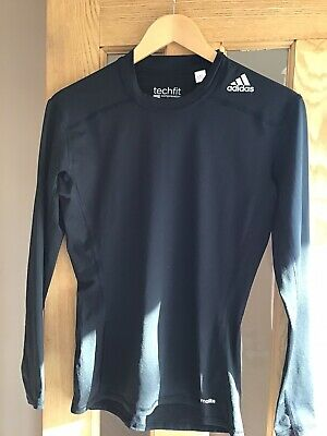 Adidas Climalite Techfit Long Sleeve Compression Base Layer Top In Black Size M