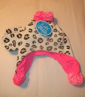 The Childrens Place Leopard/Pink Hat & Mitten Set-6-12M OR 2T/3T