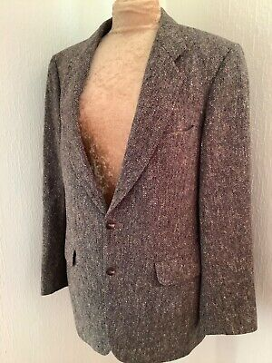 Magee Tailored Grey Wool Donegal Handwoven Tweed Vintage Jacket Size 38R