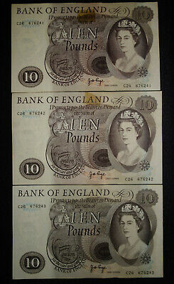 3x Bank of England £10 * 1971 * J P PAGE ->> aUNC <<- C26 676241+2+3 Consecutive