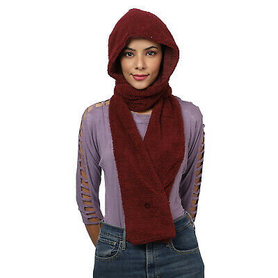 Burgundy Polyester Cotton Hood with Scarf Women Winter Wear Fashion Accessories