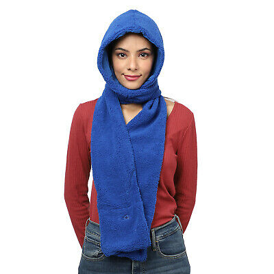 Blue Polyester Cotton Hood with Scarf Women Winter Wear Fashion Accessories