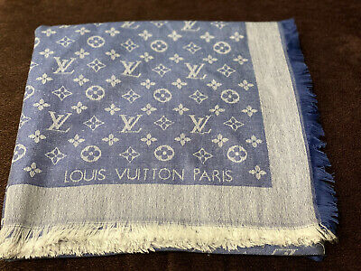 Louis Vuitton Monogram Square Shawl / Scarf Denim Blue