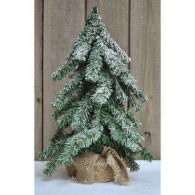 """Primitive Country 24/"""" Faux Cypress Pine Christmas Tree with Burlap Base"""