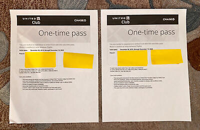 TWO (2) United Club One Time Pass EXP 12/15/2020 CHASE Email Delivery