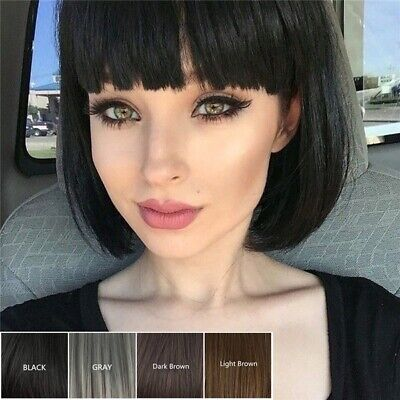Women's Short Bob Style Wig Short Straight Full Hair Wig Cosplay Black Brown Wig