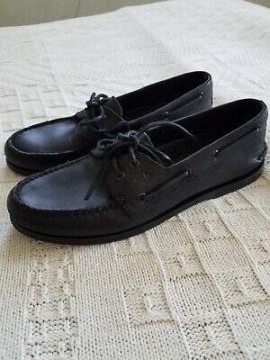 Men's ~ SPERRY ~ A/O 2 Eye ~ Black Leather Top-Sider Boat Shoe ~ NEW ~ sz 10M