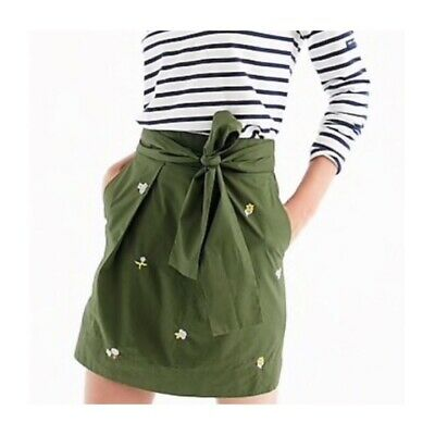 J. Crew Women's 16 Embroidered Tie Waist Mini Skirt Olive Green Floral Pockets
