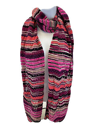 Missoni Women's Thin Wool Blend Purple/Pink Striped Made In Italy Scarf