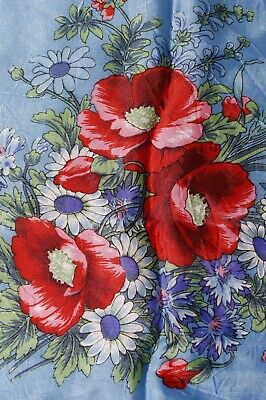 "Blue Silk Red Floral Flower Square Scarf 31"" x 30"""