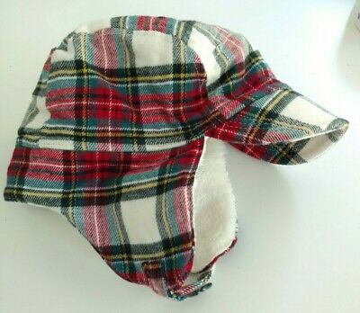 BABY GAP Plaid Flannel Fleece Lined Trapper Hat size 0-6 Months