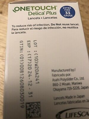 One Touch Delica Plus Lancets 100 Extra Fine 33 Gauge Exp 12/24