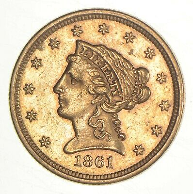 1861 $2.50 Quarter Eagle Liberty Head - U.S. Gold Coin *190