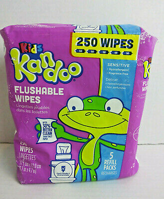 Flushable Baby Wipes Kandoo Unscented Sensitive Skin 250 Wipes 5 Refill Packs