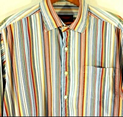 Austin Reed Men Size Xl London Muilt Colorstriped Long Sleeve Button Down Shirt 24 99 Picclick