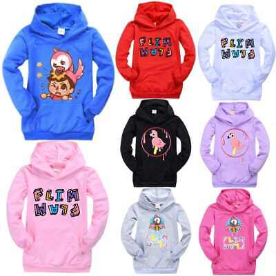 Children's Flamingo Flim Flam Pocket Hoodie Jumper Kids Tops Hooded Sweatshirt
