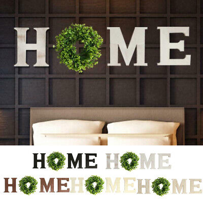 Rustic Wooden Home Letters Sign with 12 Inch Artificial Wreath Wall Home Decor