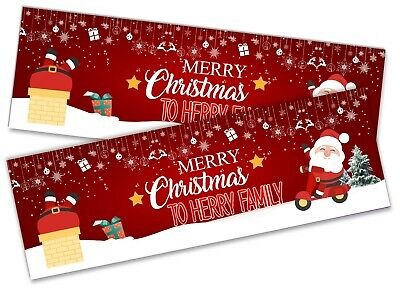 Details about  /x2 Personalised Christmas Banner Xmas Party House Decoration Occasion 64