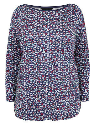 Ex Yours Top NAVY Pure Cotton Ditsy Floral Printed Size 16 18 20 22//24 26//28