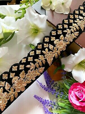 Latest Indian Golden Zari Sequin Embroidered Velvet Sari Dupatta Craft Lace trim