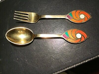 Danish Silver Gilt Christmas Spoon & Fork 1971 by A. Michelsen