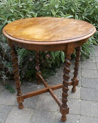 Hand Carved Wooden Barley Twist Pedestal Display Side Table Plant Stand 24.80