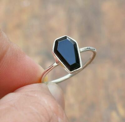 Coffin Ring 925 Silver Gold Plated Ring Statement Ring Black Onyx Ring