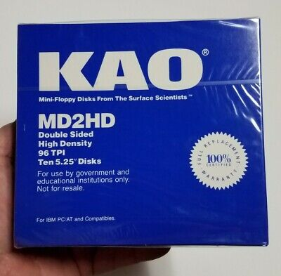 KAO 5.25 MD2HD 96TPI 10 Floppy Disks For IBM PC & AT Compatible Double Sided