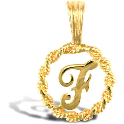 """Solid 9ct Yellow Gold Initial /""""K/"""" 10.5 mm Tall with Gold Trace Chain in Gift Box"""