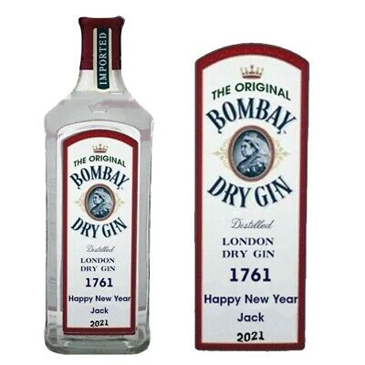 Personalised Brooklyn Gin Bottle label for Christmas Xmas any occasion BL272