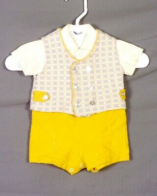 vtg 60s 70s children's baby toddler Once Piece Snap Crotch Romper Outfit 18 mos