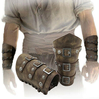 2x RETRO MEDIEVAL KNIGHT LEATHER ARM GUARD BRACERS COSPLAY COSTUME ARM GUARD