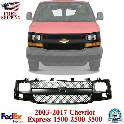 Grille Assembly Compatible with 2003-2014 Chevrolet Express 1500 Plastic Gray Shell and Insert with Sealed Beam Headlights