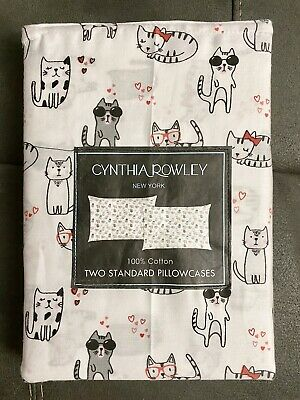 NEW Cynthia Rowley Cats Kitty Sheet SET White Grey Kittens Twin Full Queen Size