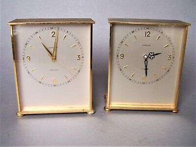 TWO Vintage Brass Garrard Precision Battery Mantel Clock - SPARES OR REPAIRS