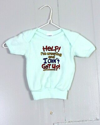 vtg 80s retro Baby Help I'm Crawling and i Can'T Get Up Shirt Top T-Shirt sz S