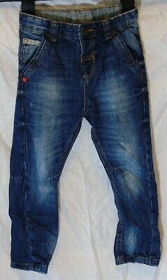 Boys George Blue Whiskered Vintage Look Denim Arc Leg Jeans Age 2-3 Years