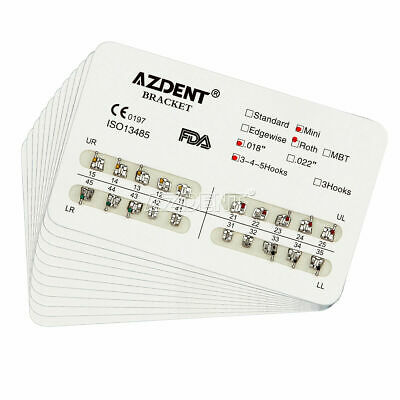 10Packs AZDENT Dental Orthodontic Bracket Metal Braces Mini Roth 018 Hooks 3-4-5