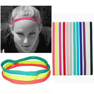 Mens Boys Long Black Thin Hair Elastic Football Sports Headband 1cm pack of 6 UK