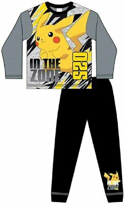 GREY MARL Boys Official Pokemon Pyjamas Pikachu New Ages 5 to 12 years