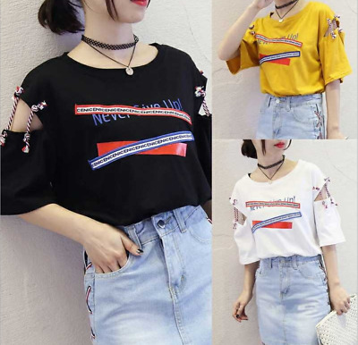 Girls Students Summer Loose T Shirt Korean Style Short Sleeve Cotton Heart Tops 9 99 Picclick
